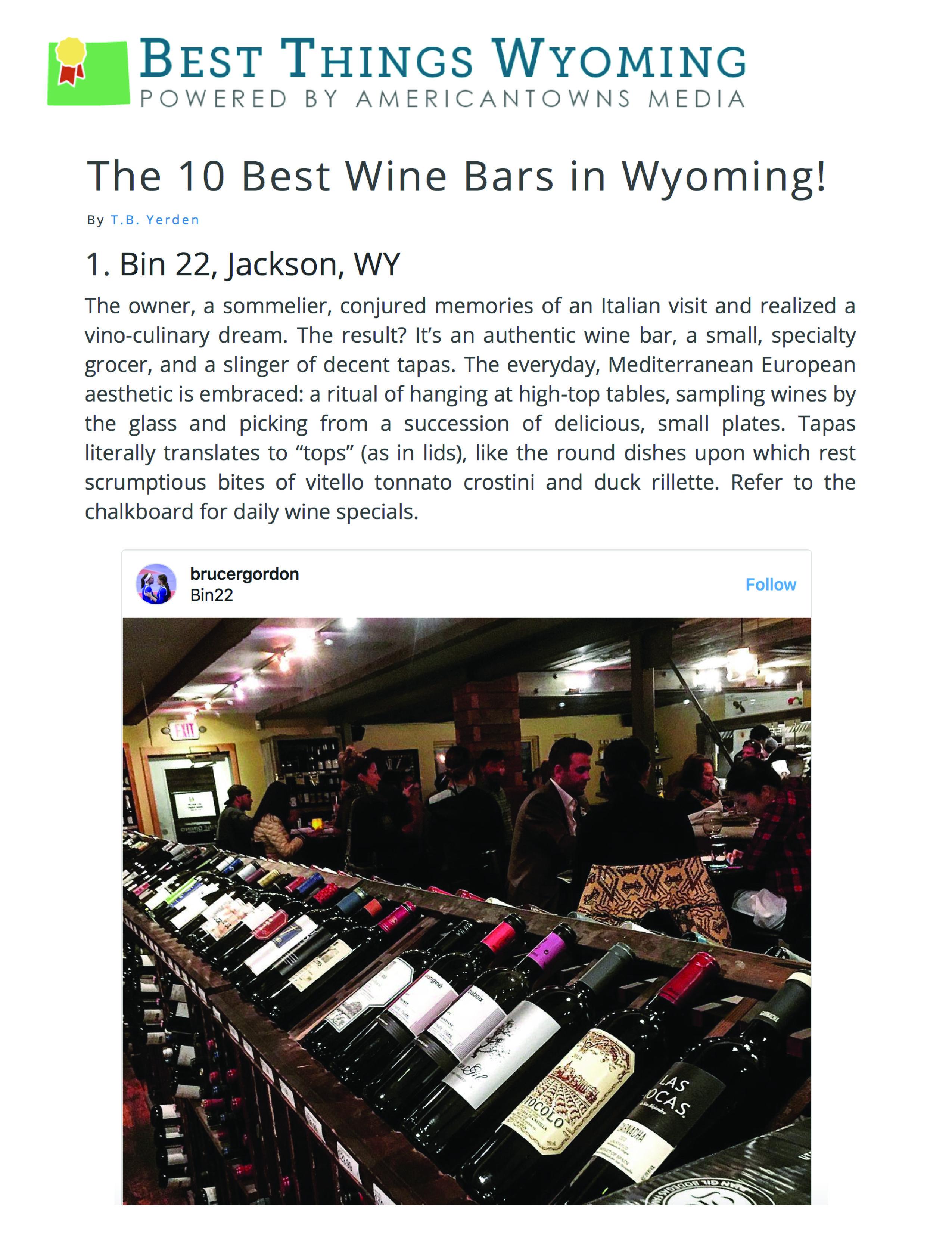Press item at Bin 22 - Best Things WY