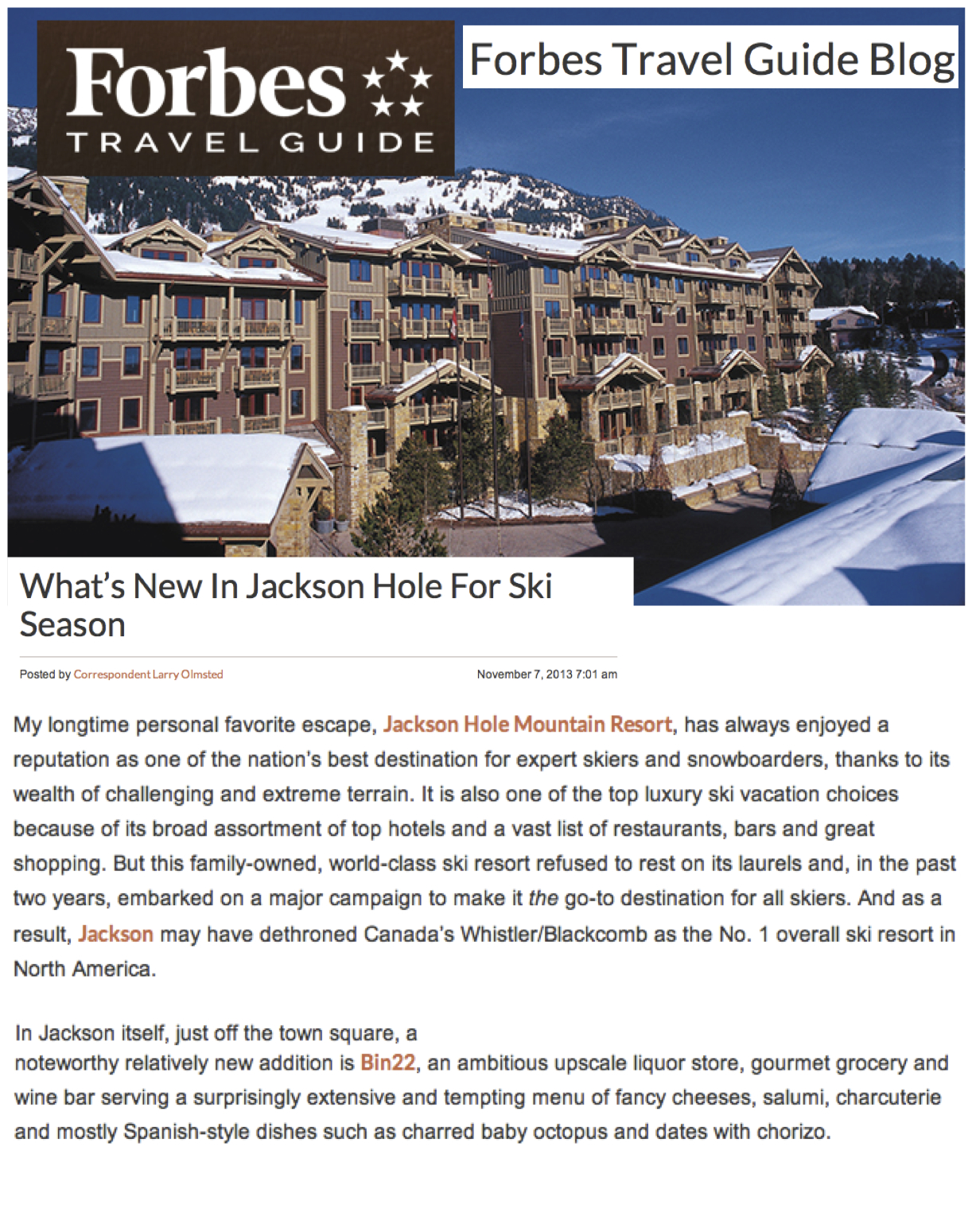 Press item at Bin 22 - Forbes Travel Guide