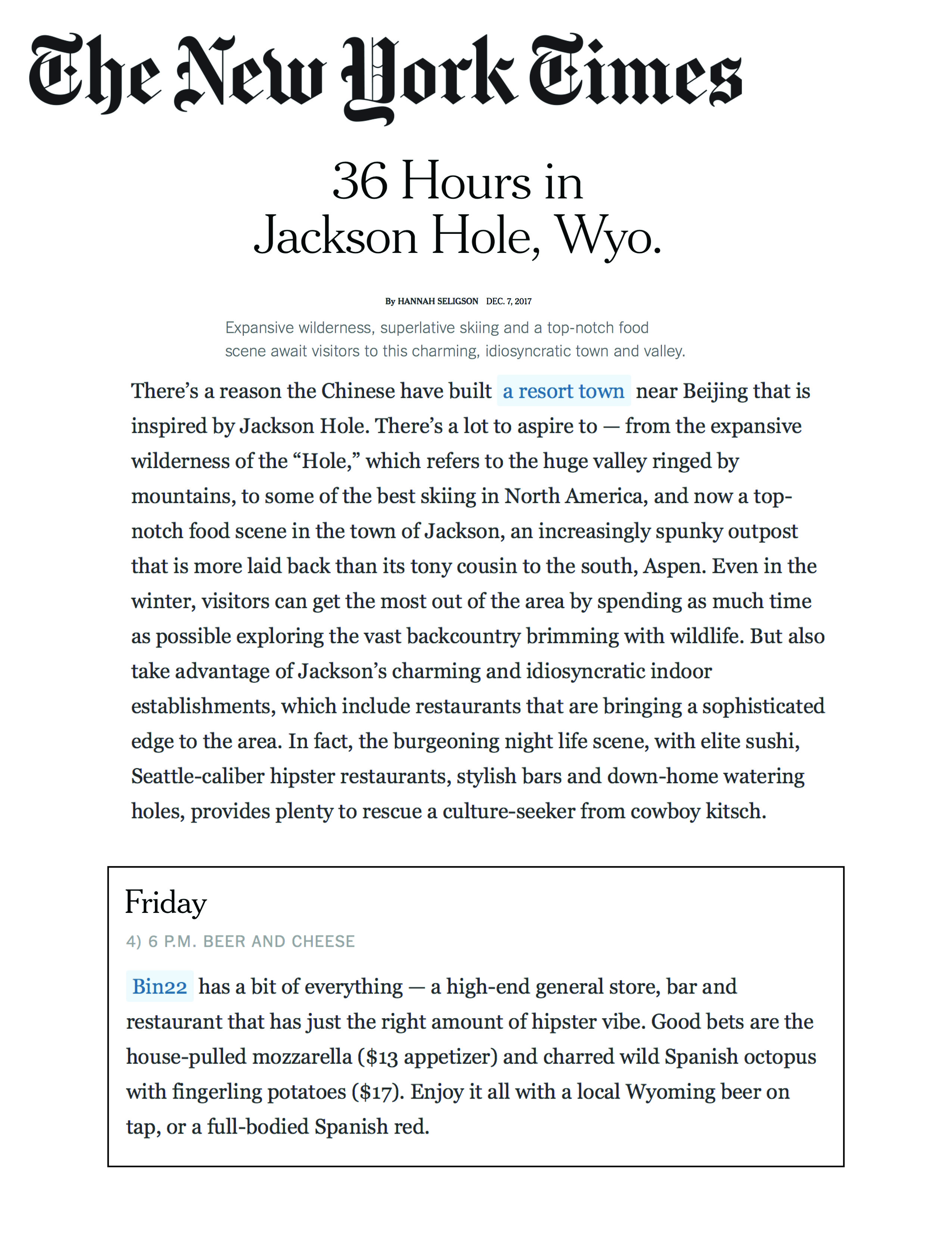 Press item at Bin 22 - New York Times