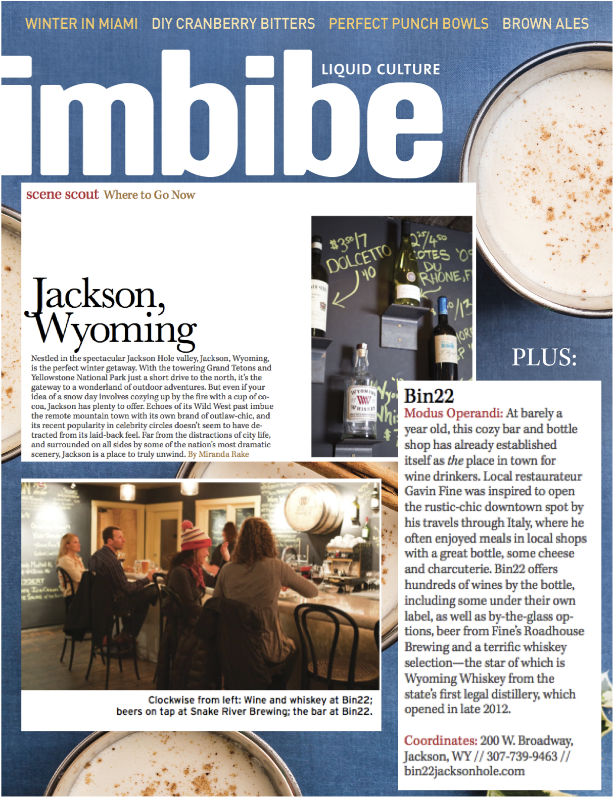 Press item at Bin 22 - Imbibe Magazine