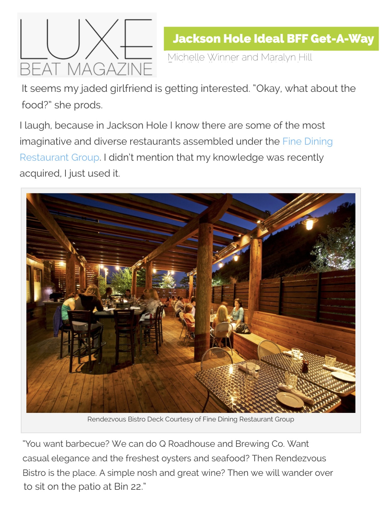 Press item at Bin 22 - Luxe Beat Magazine