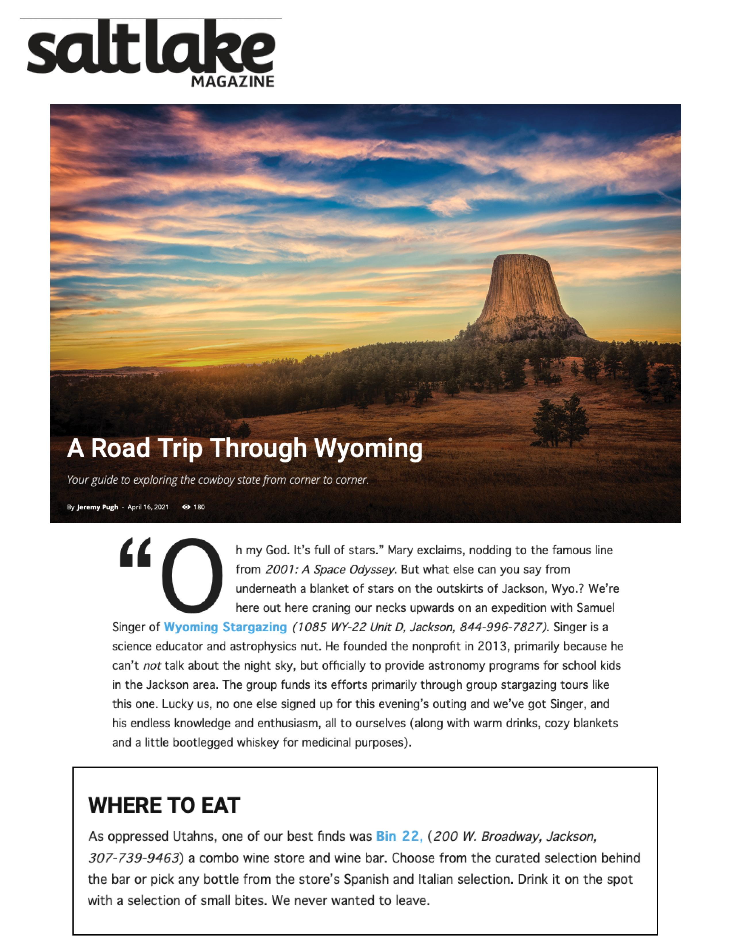 Press item at Bin 22 - Salt Lake Magazine
